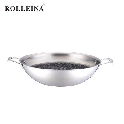 Wholesale High End Kitchen Cooking Stainless Steel Honeycomb Non-stick Wok With Lid