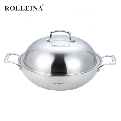 Modern Design High Quality Non Coating Cookware Tri Ply Clad Stainless Steel Wok