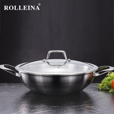 High quality Durable Cookware Tri-ply Stainless Steel Traditional Wok