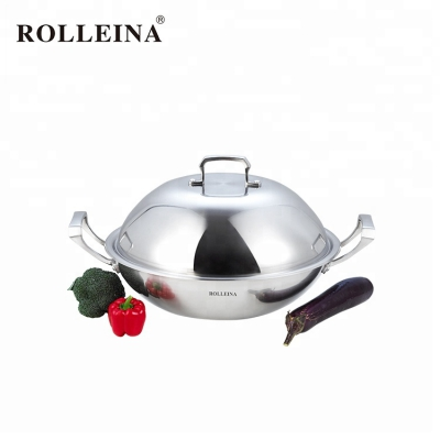 Professional design tri ply stainless steel cooking frying pan wok