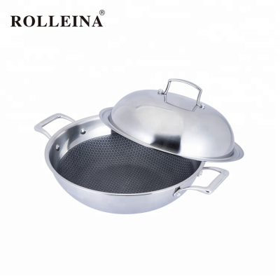 Commercial Double Handle Tri-ply Stainless Steel Cooking Wok Pan