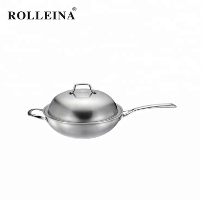 New technology high end tri-ply stainless steel cooking pan/ wok with lid
