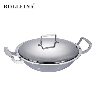 Custom design durable multi-ply clad stainless steel induction wok with double handle