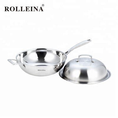 High end cookware induction bottom round tri-ply stainless steel wok