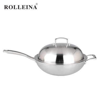 Factory Supply Kitchen Cooking Tri Ply Stainless Steel Honeycomb Non-stick Wok