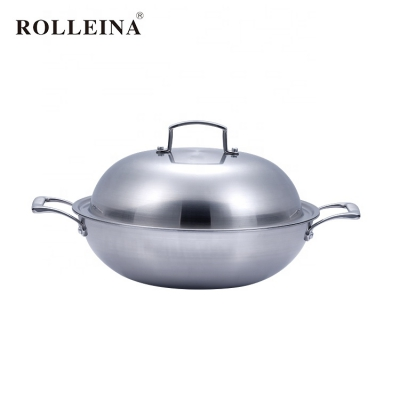 Popular Induction Bottom Tri-ply Stainless Steel Non-stick Cooking Pan Wok With Two Handles
