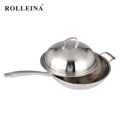 New technology korea tri ply clad stainless steel 32cm non stick induction wok