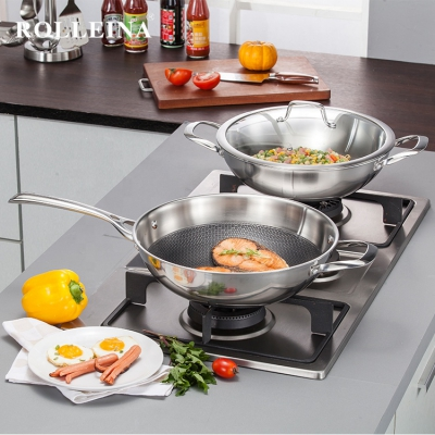 High Quality Tri-ply Stainless Steel Cookware Induction Non Stick Big Wok