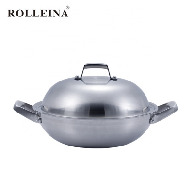 Wholesale Durable Two Ears Multi-ply Clad Stainless Steel Wok