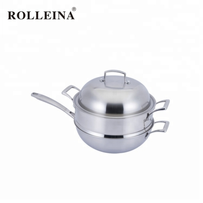 Professional Design Multifunctional Cookware 3 Ply Stainless Steel Wok
