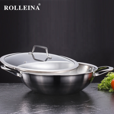 Factory Supply Durable Cookware Tri-ply Stainless Steel Traditional Polishing Gas Wok