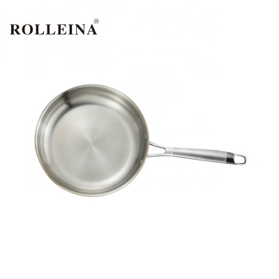 Customized Durable Golden Induction Bottom Tri Ply Stainless Steel Home Cooking Frying Pan