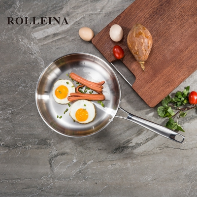 Wholesale Custom German Tri Ply Stainless Steel Kitchen Cooking Food/ Egg Frying Pan