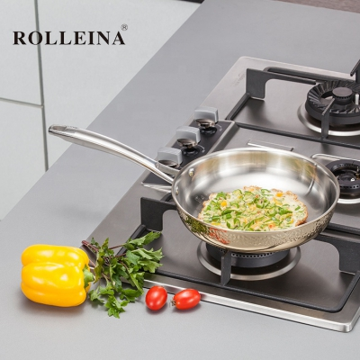 Professional Design Gold Induction Bottom Tri Ply Stainless Steel Frying Cooking Pan