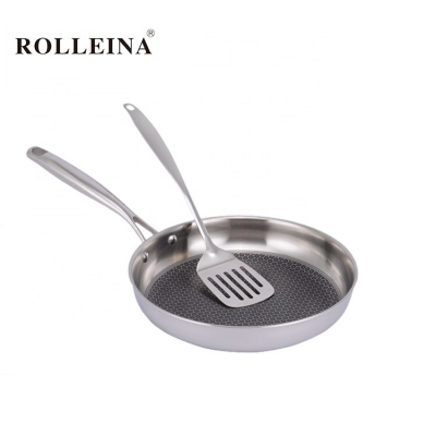 Wholesale Sales Home Kitchen Cookware Tri Ply Stainless Steel Non Stick Fry Pan
