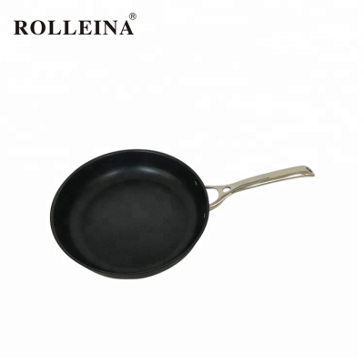 Professional kitchen cookware tri ply stainless steel non stick frying pan with long handle