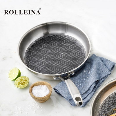 Competitive price induction bottom tri ply stainless steel non-stick skillet frying pan