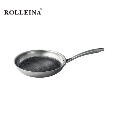 Customized dishwasher safe durable tri ply stainless steel non-stick skillet frying pan with ss handle