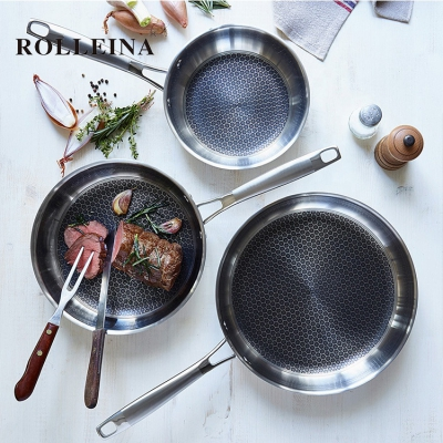 High end induction cooking pan 3 ply stainless steel nonstick food skillet frying pan set