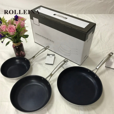 New design kitchen food pan tri ply stainless steel non stick frypan set with long handle
