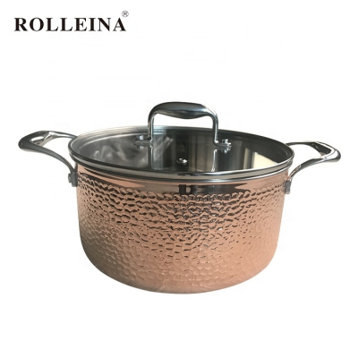 High quality induction bottom 3-ply copper cooking pot casserole with glass lid