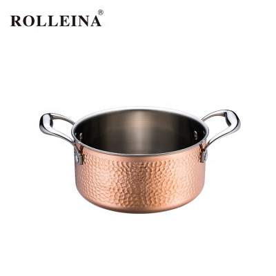 Custom Made Tri-Ply Clad Copper Hammered Kitchenware Soup Pot Casserole With Lid