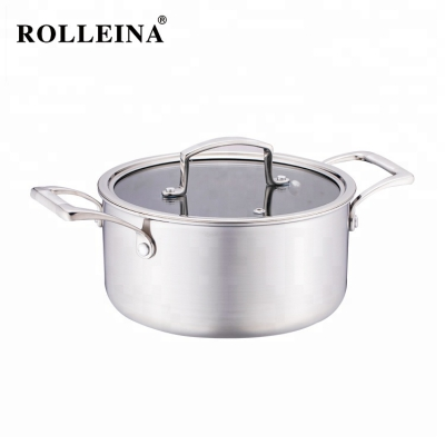 Factory Supply Household Kitchenware Non Stick Cookware Tri Ply Stainless Steel Casserole