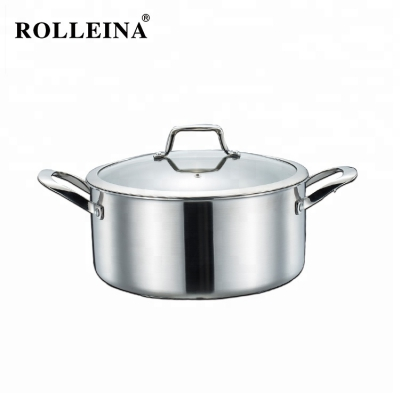 Customized High Quality Safety Cooking Pot  Tri-ply Clad Stainless Steel Casserole
