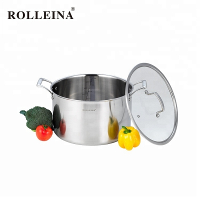 Household tri-ply clad stainless steel cooking pot/ casserole with glass lid