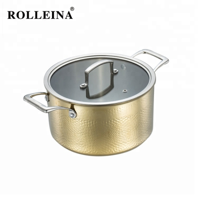 Promotional Gold Color Cooking Pot Stockpot 3 Ply Stainless Steel Casserole