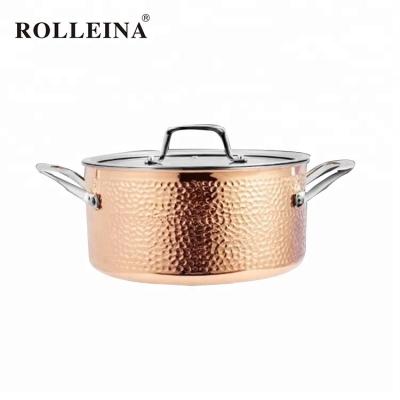 Premium Induction Bottom Tri-ply Copper Cooking Pot Kitchen Casserole