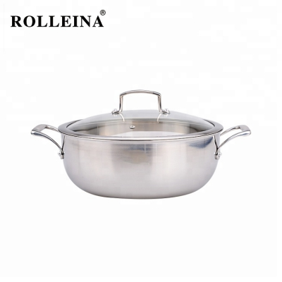 Energy Saving Tri-ply Clad Stainless Steel Soup Pan/ Hot Pot/ Casserole