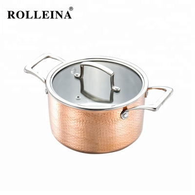 Premium Induction Bottom Cookware Stock Pot Tri-ply Clad Copper Casserole