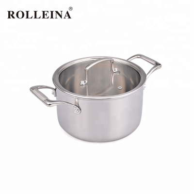 High quality safety double ears metal pot tri-ply clad stainless steel food big casserole