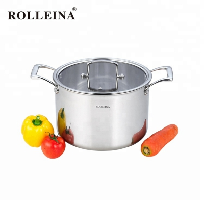 Household customized safety double ears stew pot tri-ply clad stainless steel casserole