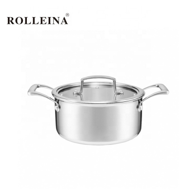 Wholesale high end tri-ply clad stainless steel kitchen cooking soup pot casserole