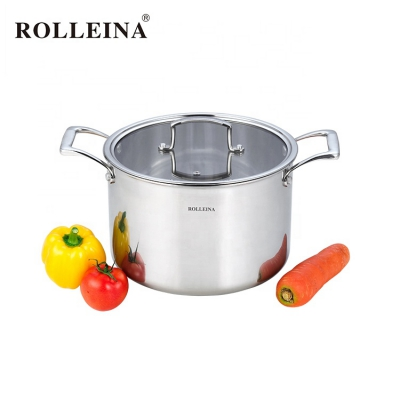 Household tri-ply clad stainless steel kitchen cookware stock/ soup pot