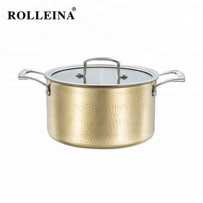 Promotional German Gold Color Cooking Pot 3 Ply Stainless Steel Casserole