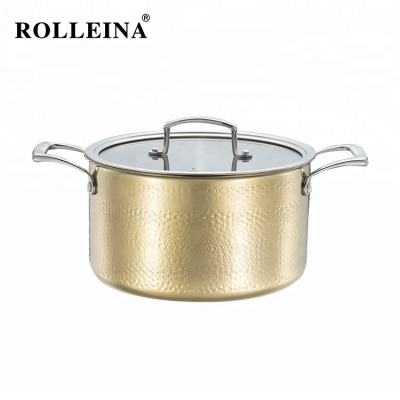 Factory Supply Gold Color Kitchenware Tri Ply Stainless Steel Casserole