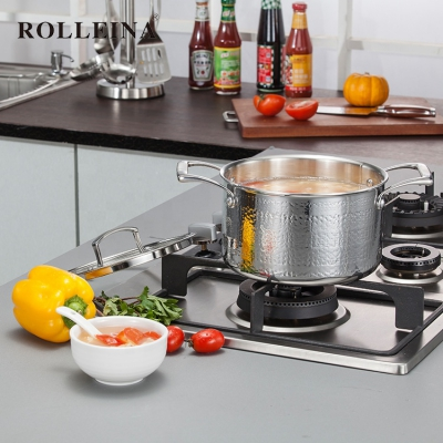 Healthy Durable Tri Ply Stainless Steel Cookware Hammered Pot Casserole