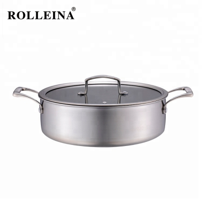 Factory Supply Energy Saving Tri-ply Clad Stainless Steel Non Stick Cooking Pan Skillet