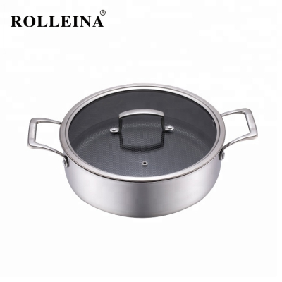 High Quality Energy Saving Tri-ply Clad Stainless Steel Non Stick Cooking Hot Pot/ Casserole