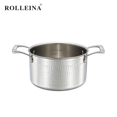 Factory Direct Sell Healthy Tri Ply Stainless Steel Cooking Hammered Pot Casserole With Glass Lid