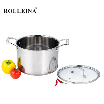 Professional Design Tri Ply Clad Stainless Steel Cooking Soup Pot Casserole