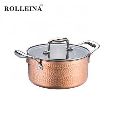 Hot Selling Induction Bottom Tri-Ply Clad Copper Hammered Cooking Pot Casserole