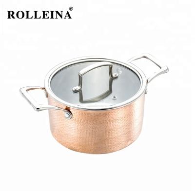 New Design Premium Induction Bottom Cookware Single Pot Tri-ply Clad Copper Casserole