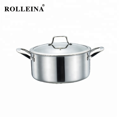 High Quality Kitchen Cooking Pot Tri-ply Clad Stainless Steel Casserole