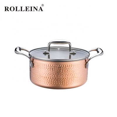 Household Induction Bottom Tri-Ply Clad Copper Hammered Kitchenware Cooking Pot Casserole