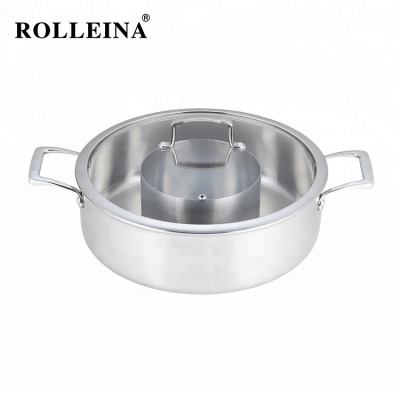 Best selling induction cookware tri-ply clad stainless steel hot pot