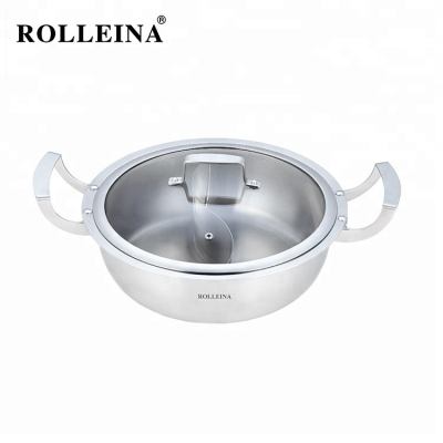 Best selling easy to clean restaurant kitchen tri-ply clad stainless steel cookware hot pot